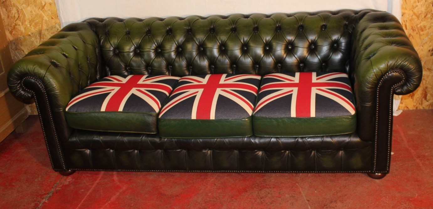 1960s Green Leather 3 Seat Chesterfield Sofa Union Jack Cushions