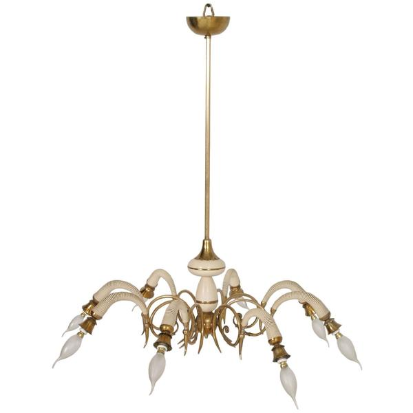 1930s Eight Arms Italian Art Deco Pendant Lighting In Gilt Laquered Br