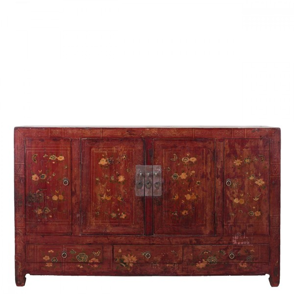 Red Decorated Antique Sideboard C.1860