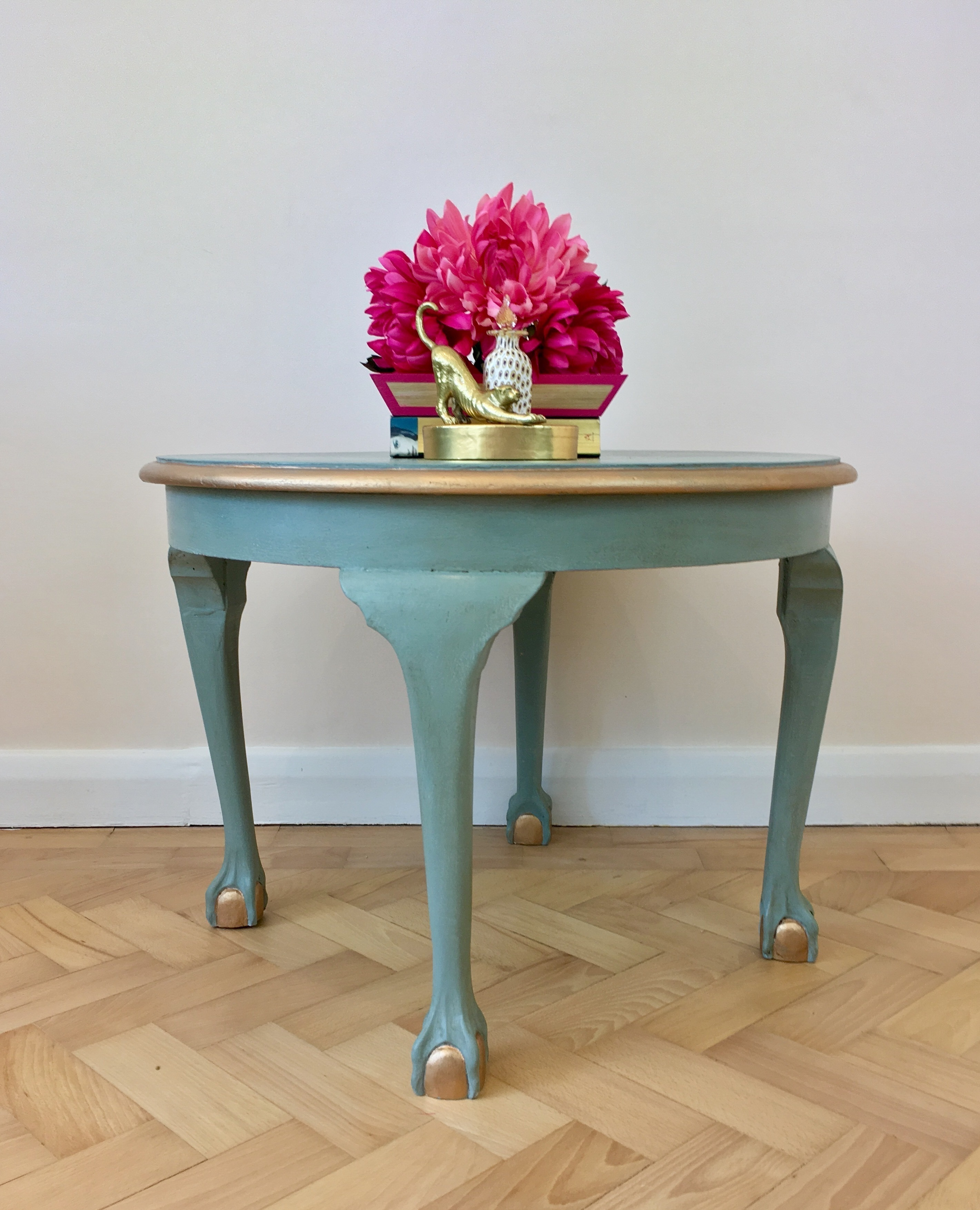 Round Coffee Table Duck Egg Blue With Gold Highlights Vinterior