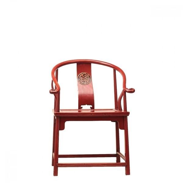 Red Chinese Horseshoe Chair C.1915
