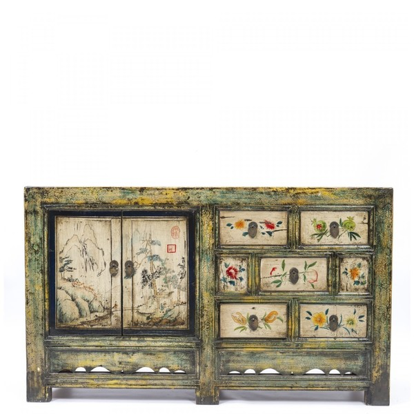 Green Five Drawer Decorated Chinese Cabinet