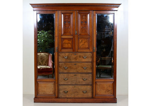 Edwardian (1901-1910) Antique Furniture Ornate Victorian Double Mirror Door Wardrobe With Key 100% Guarantee
