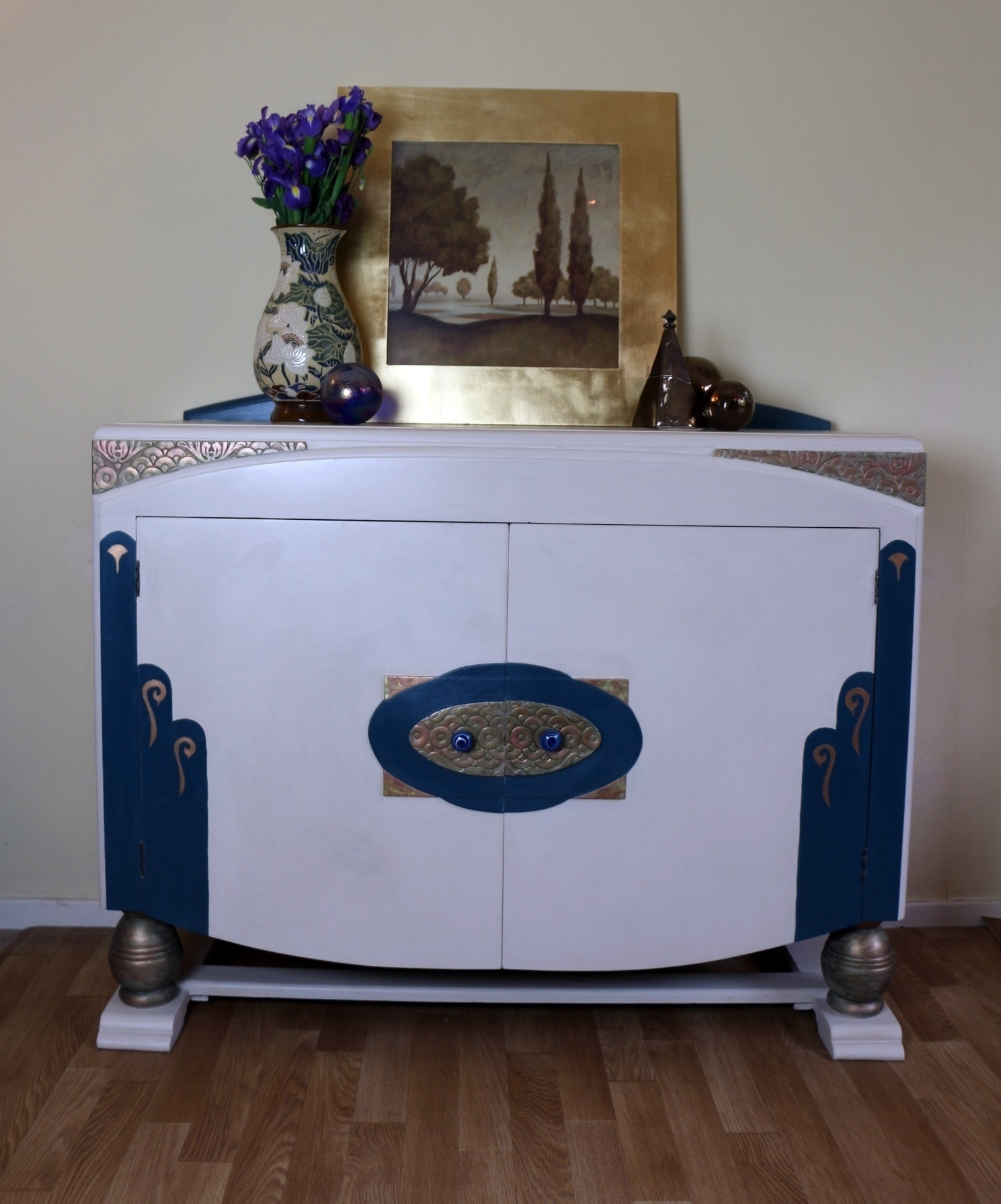 Vintage Art Deco Style Upcycled Buffet Sideboard With Side Drawers Vinterior