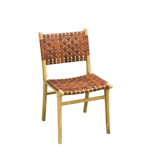 Woven Leather Dining Chair