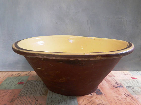 rough outer walls serving bowl primitive bread kneading bowl creamy shino only one made pottery bread dough bowl rustic PANCHEON BOWL