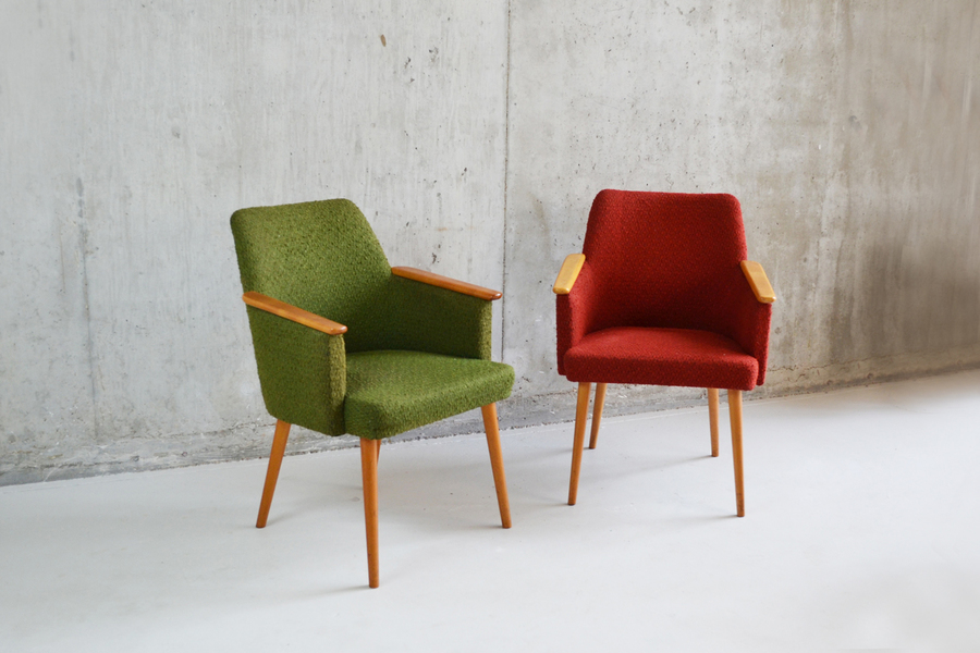 Pair 1960's French Mid Century Occasional Chairs
