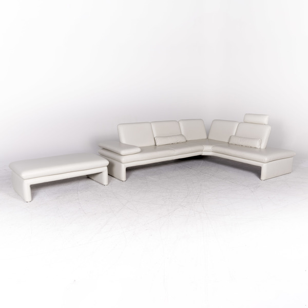 1 11 X Willi Schillig Brooklyn Designer Leather Corner Sofa Stool Set