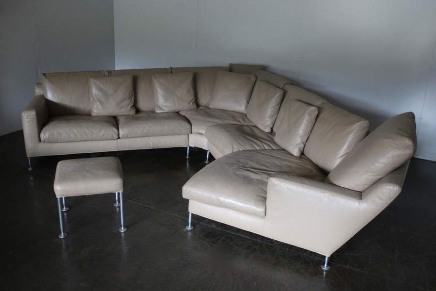 "Rare Handsome B&B Italia ""Harry"" 6 Seat L Shape Chaise End Sofa & Ottoman  In Pale Brown ""Gamma"" Leather"