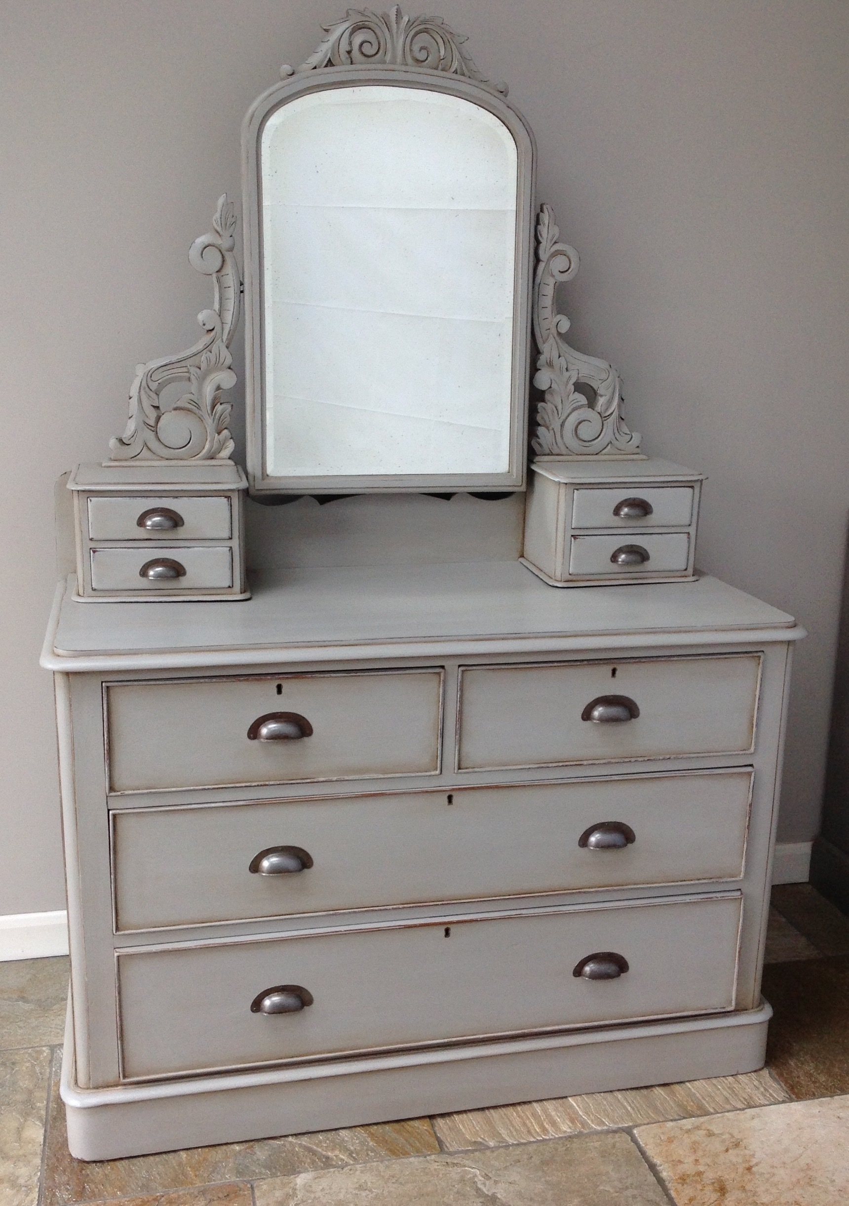 Antique Victorian Dressing Table With Mirror Chest Of Drawers Storage Cupboard Painted Grey Annie Sloan Chalk Paint