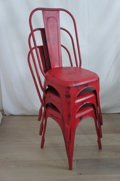 Red 1930's Style Tolix Metal Chair photo 1