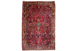 Thumb handmade antique persian sarouk rug 3 6 x 5 3 109cm x 161cm 1920s 0