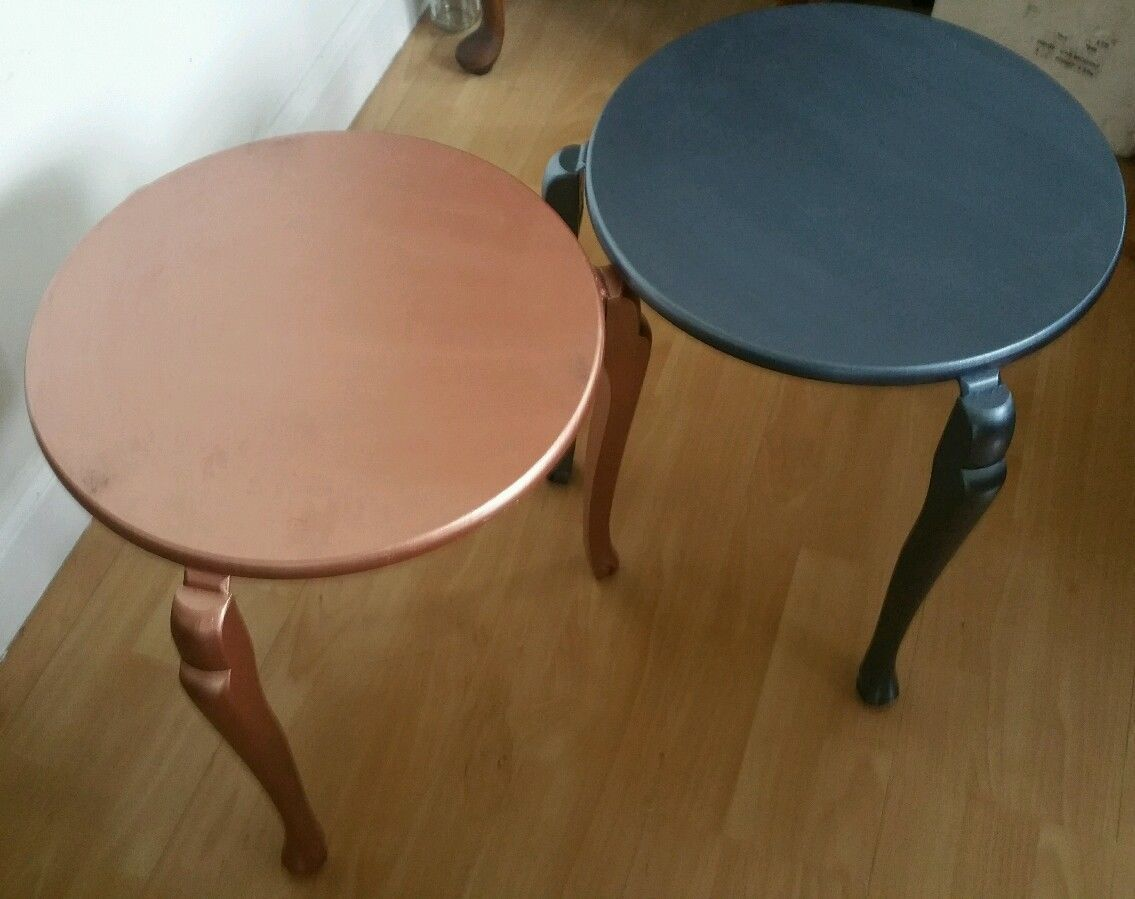 Picture of: Metallic Paint Over 2 Vintage Mid Century Modern Round Stacking Tables Vinterior