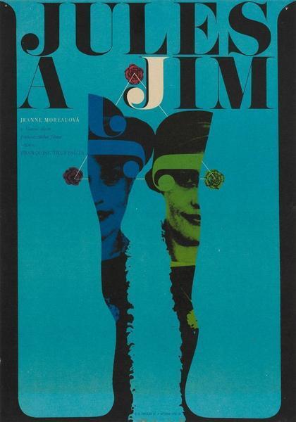 Jules And Jim 1967 Czech Film / Movie Poster, Karel Vaca Original Vintage