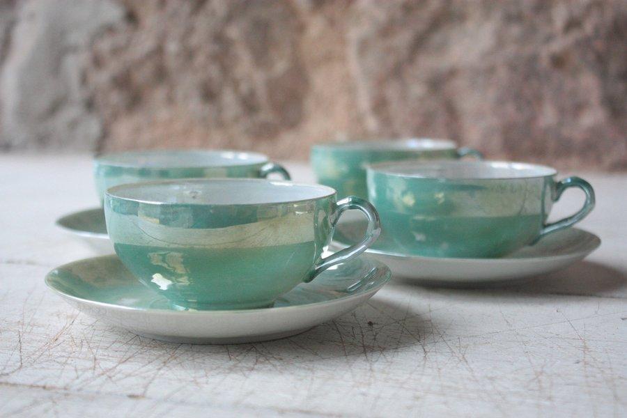 Set Of 4 Japanese Antique Eggshell Porcelain Tea Cups