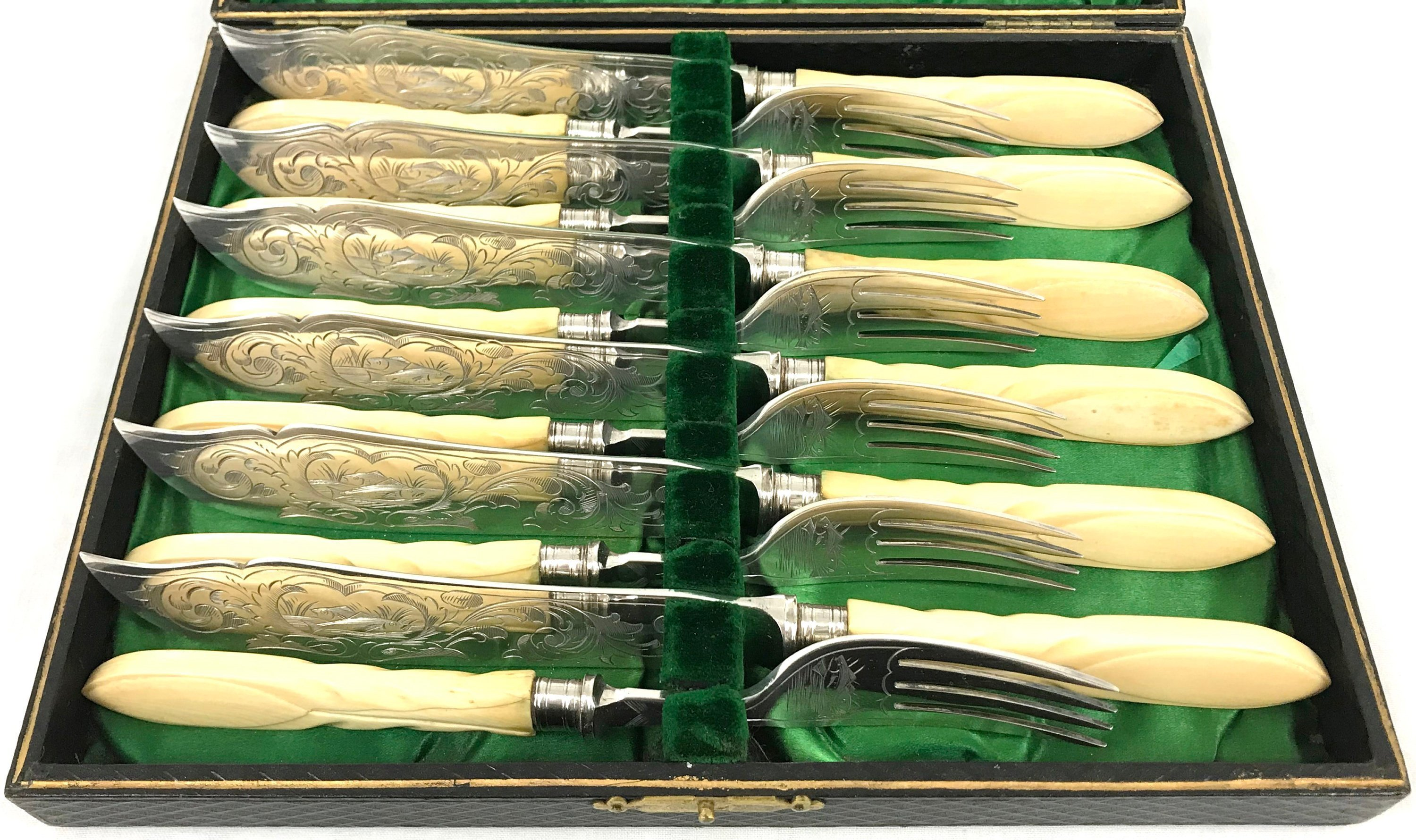 Exquisite Cutlery Set Fish Knives And Forks Silver Plate Carved Bone Handles Victorian Flatware Floral Vinterior