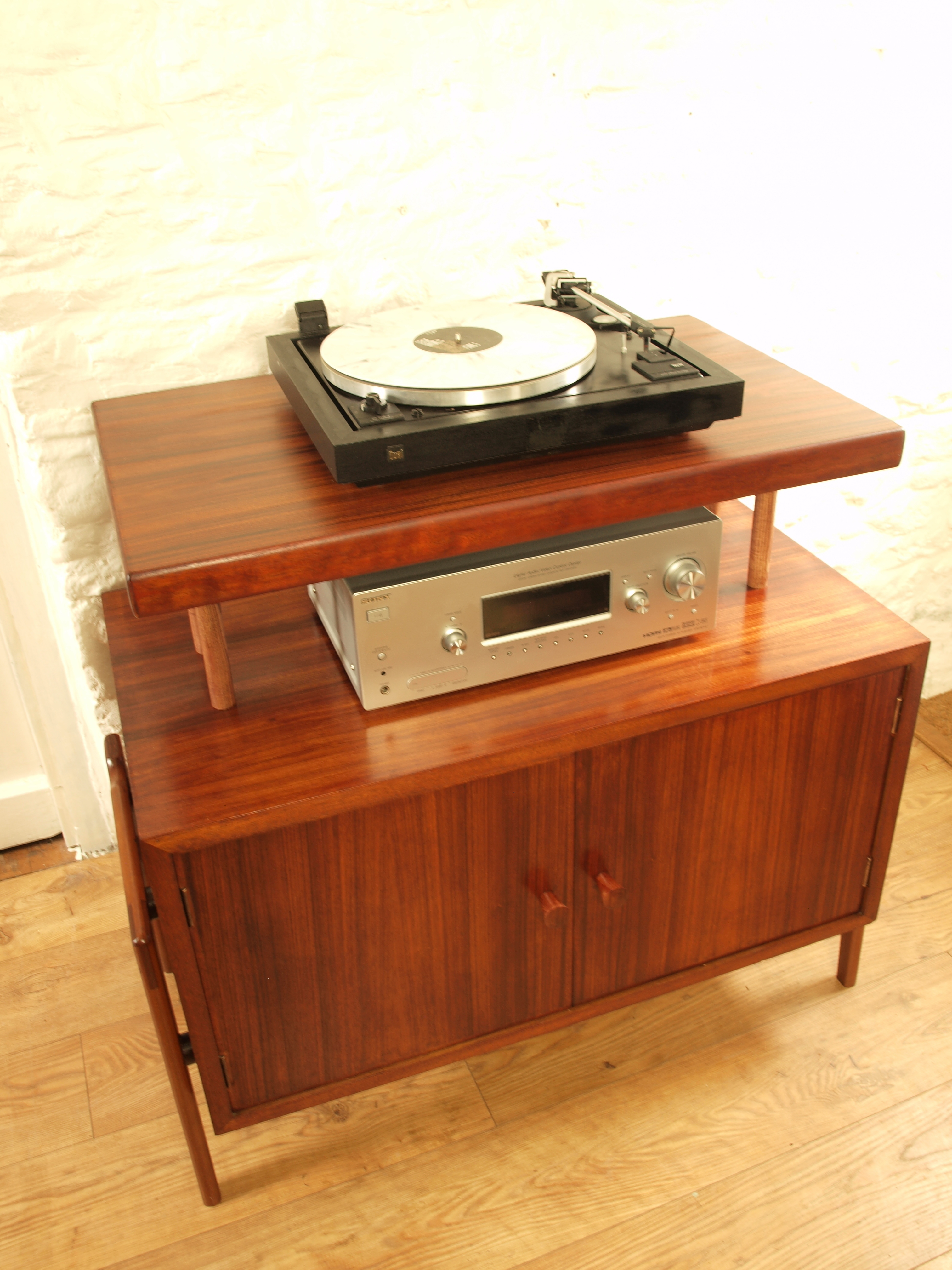Danish Mid Century Recordvinyl Lp Storage Cabinet Hifi Turntable