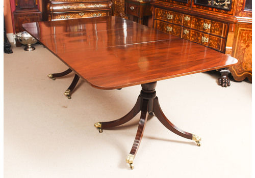 164f0b7bd3995 Antique Flame Mahogany Twin Pillar Regency Dining Table 19th C