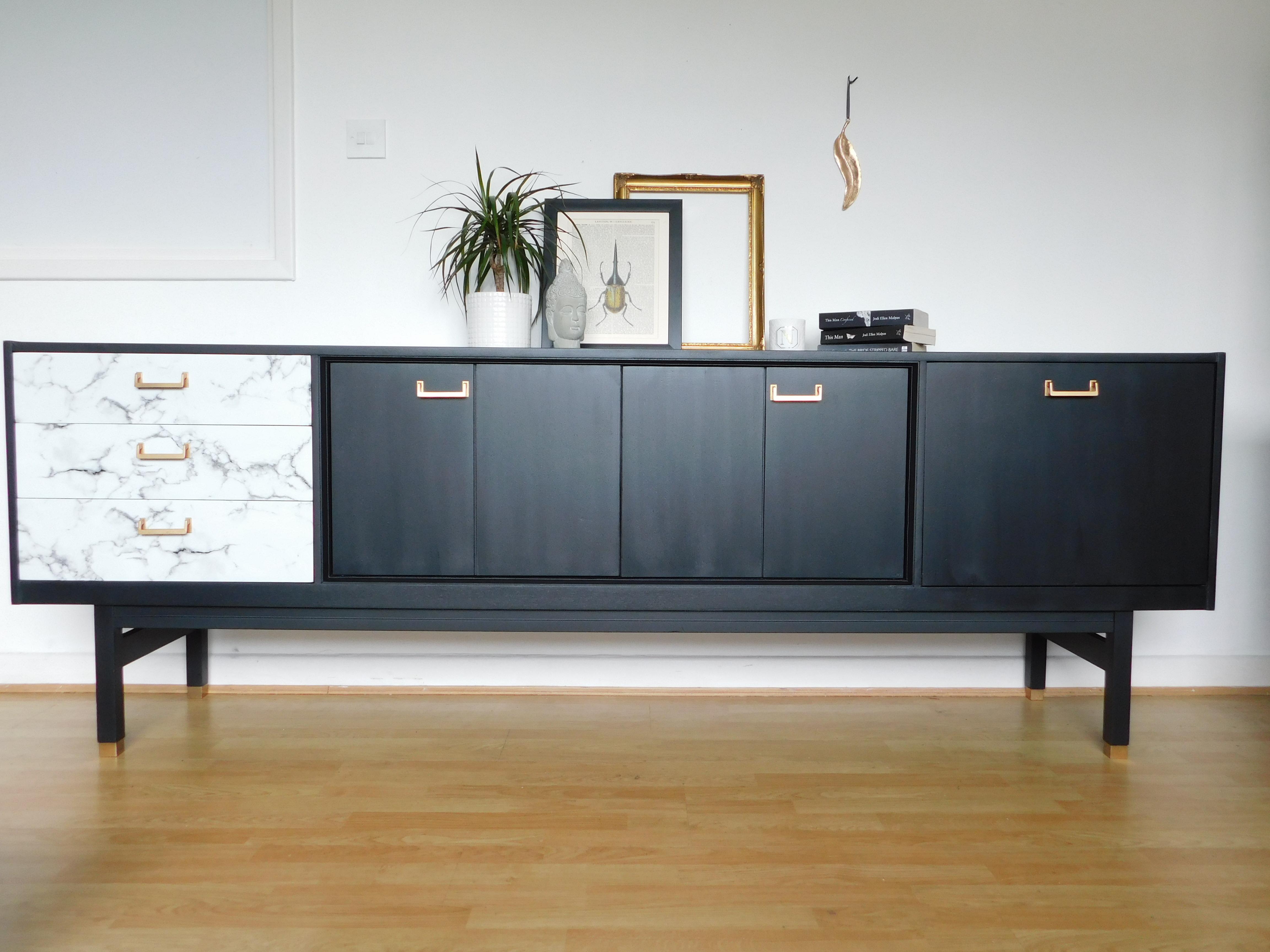 Black Marble Gold G Plan Sideboard With Bi Folding Doors G Plan