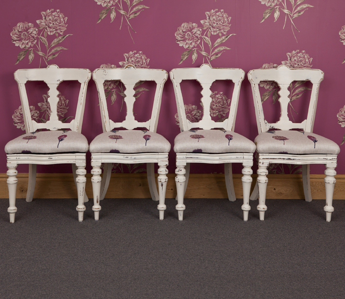 Four Faded Elegance Painted Victorian Dining Chairs