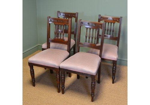 Set 6 Edwardian Antique Solid Carved Mahogany Upholstered Dining Kitchen Chairs Quality First Furniture