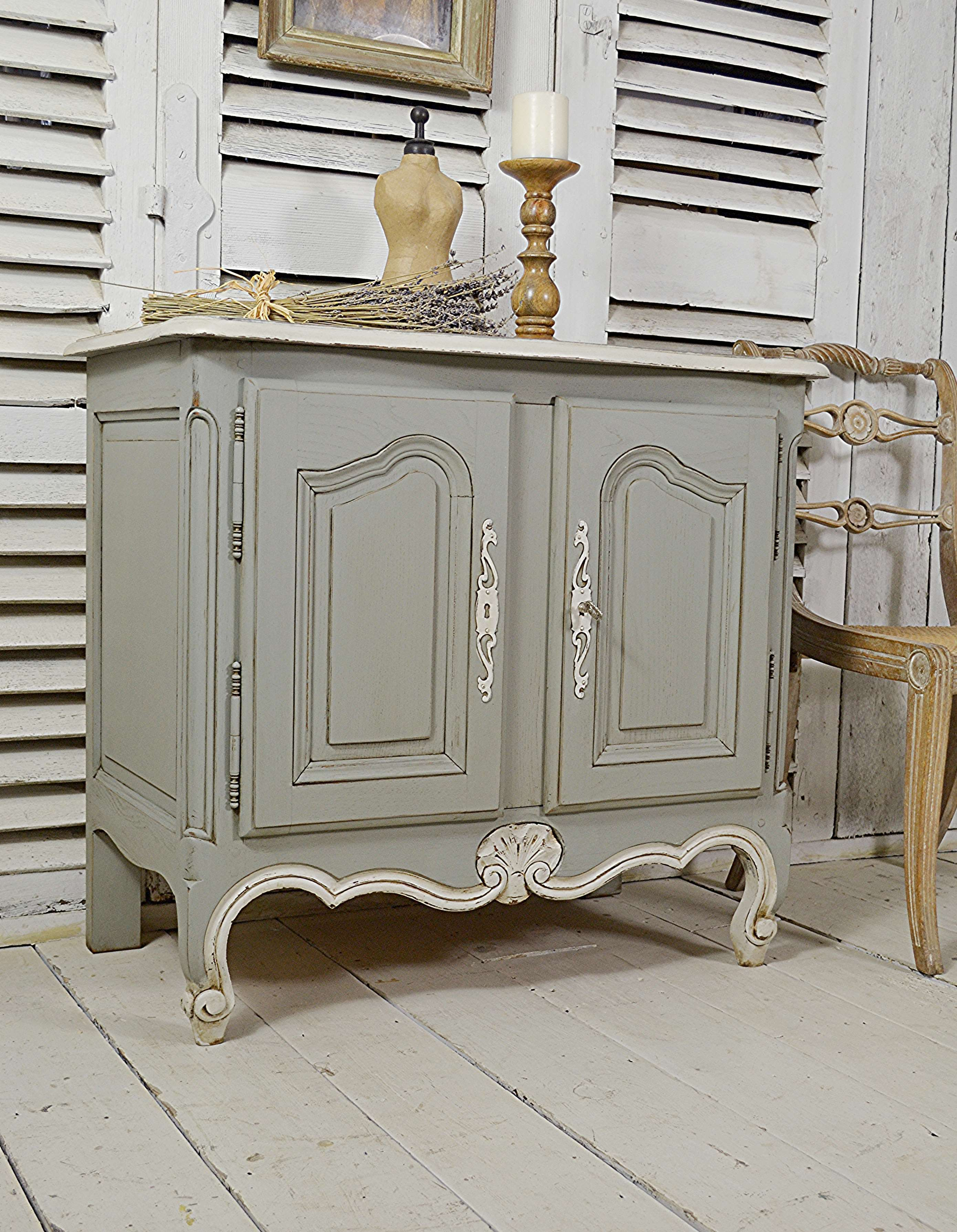 Small Vintage French Shabby Chic Buffet Cupboard Media Unit Green Grey Free Uk Delivery