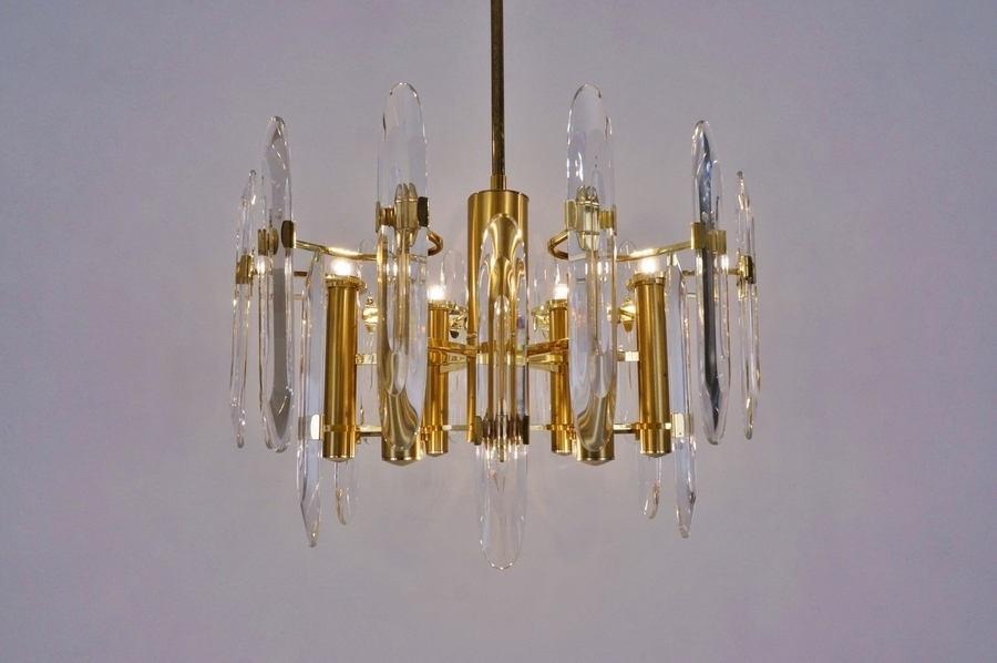 Sciolari Brass Chandelier With Crystals