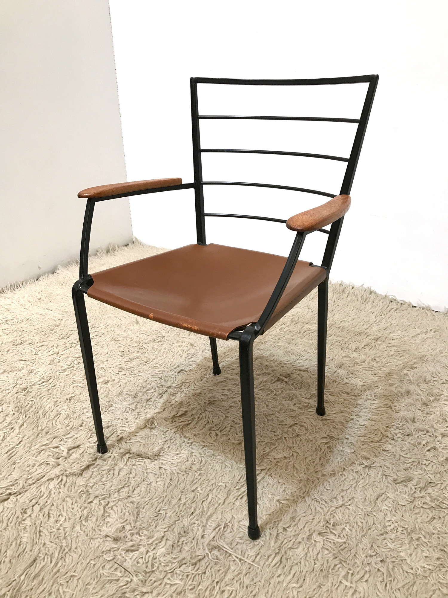 Wondrous 60S Rare Staples Ladderax Metal And Leather Dining Chair Armchair Heals Andrewgaddart Wooden Chair Designs For Living Room Andrewgaddartcom