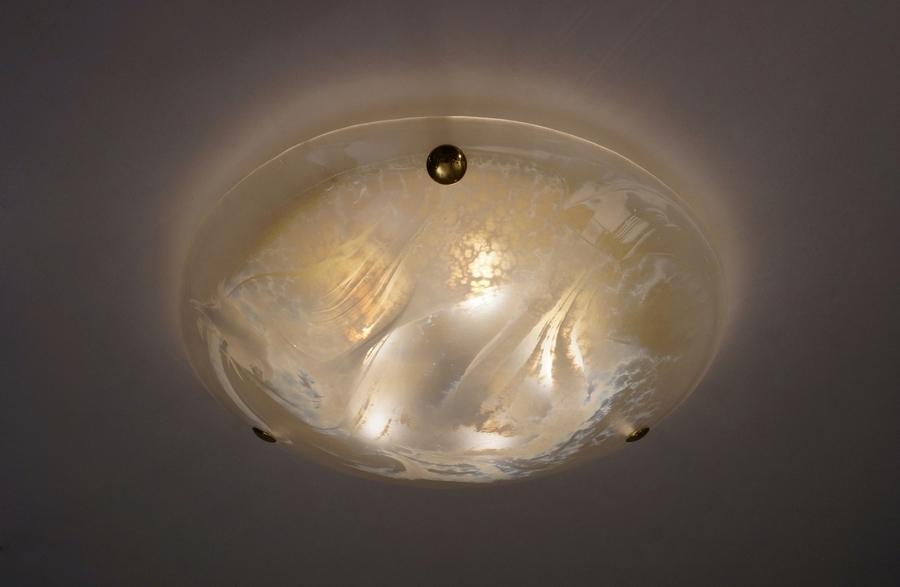 Murano Art Glass & Brass Flush Light By Hillebrand