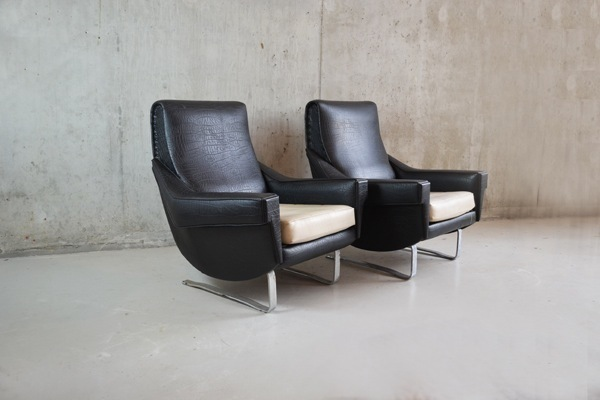 Pair Of 1960's French Vinyl Armchairs