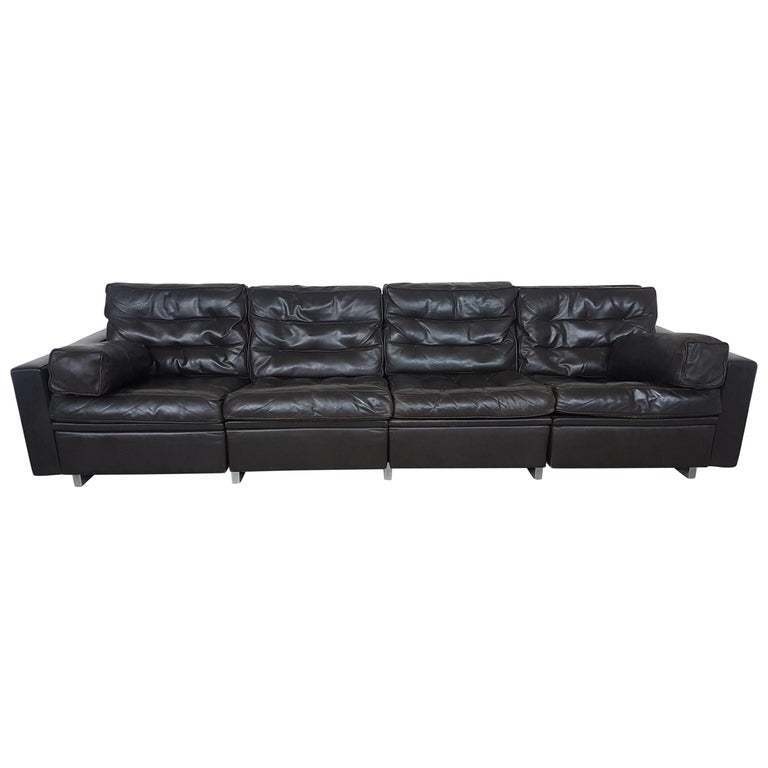 Astonishing De Sede New York Vintage Four Seat Sofa In Dark Brown Leather Download Free Architecture Designs Xaembritishbridgeorg