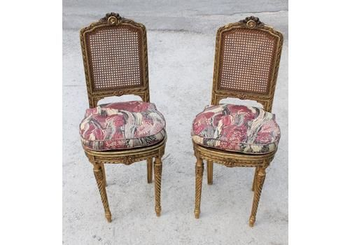 1900-1950 Pair Of Unique Ornate Continental French Louis Xvi Cane Caned Chairs Helpful 19th C