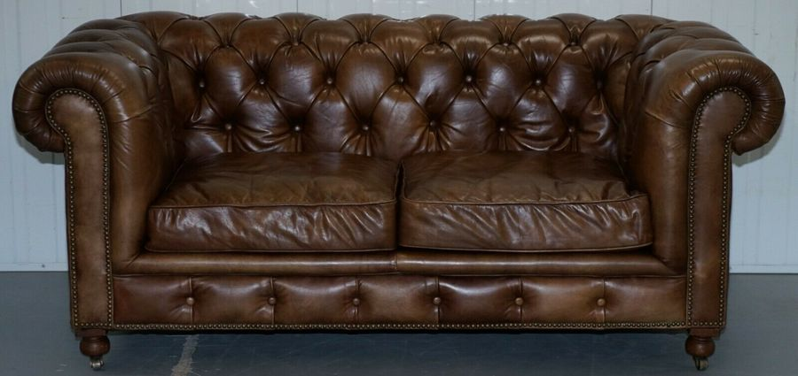 24a6806d71b2 Timothy Oulton Halo Westminster Brown Leather Chesterfield Sofas. 1   12