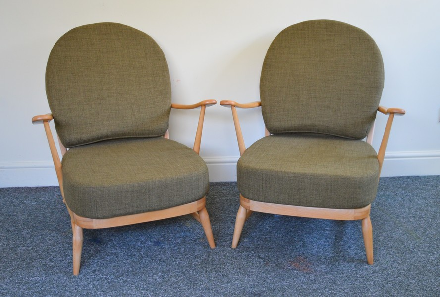 Pair Of Vintage Ercol 203 Windsor Armchairs In Soft Green