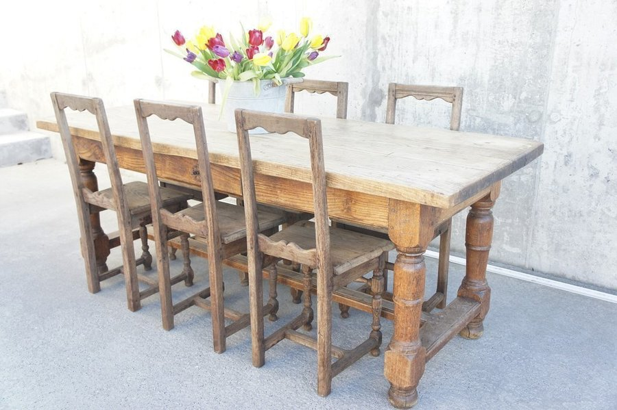 199.5cm Oak Farmhouse Dining Table With 6 Wooden Chairs