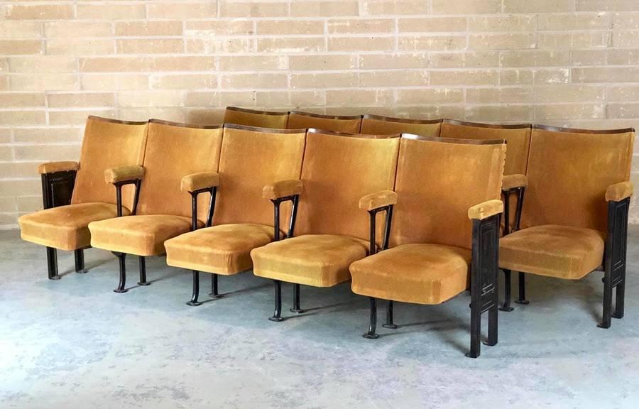 Antique 1930's Cast Iron And Velvet Theatre Seats/Cinema Seats Free Delivery