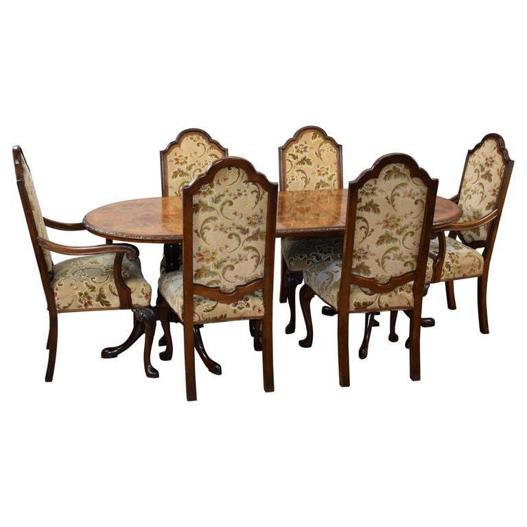 Terrific 20Th Century English Queen Anne Style Burr Walnut Dining Table And Chairs Download Free Architecture Designs Scobabritishbridgeorg