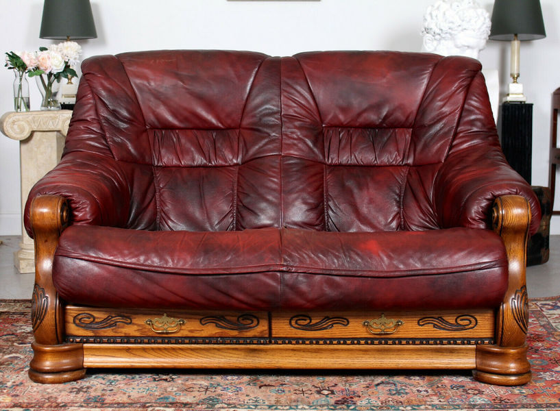 French Oak Burgundy Leather Sofa Carved Two Seater Photo 1