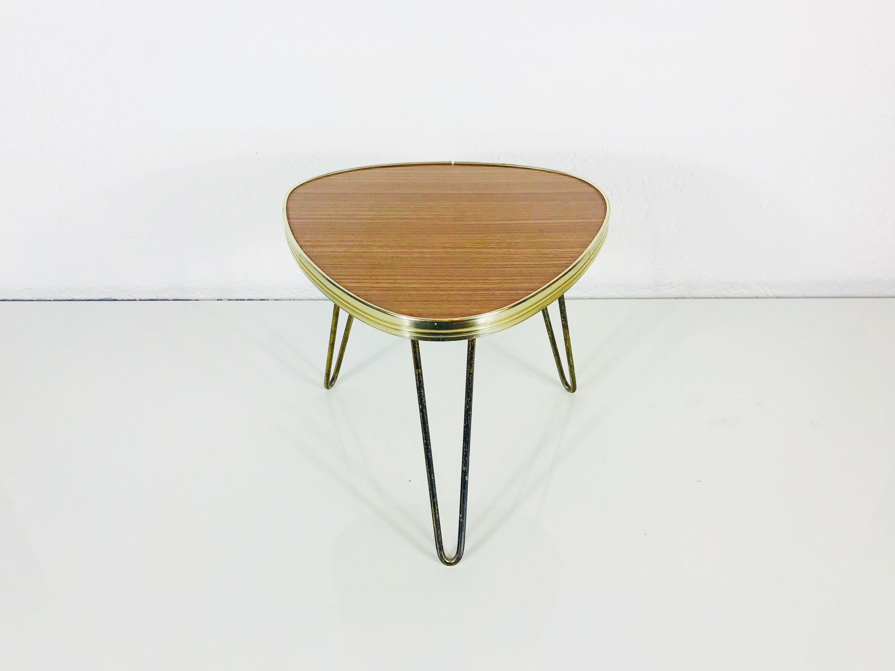 Triangle Coffee Table Wood.Brass Tripod Plant Stand Triangle Shape Coffee Table Wooden Top Germany 1960s