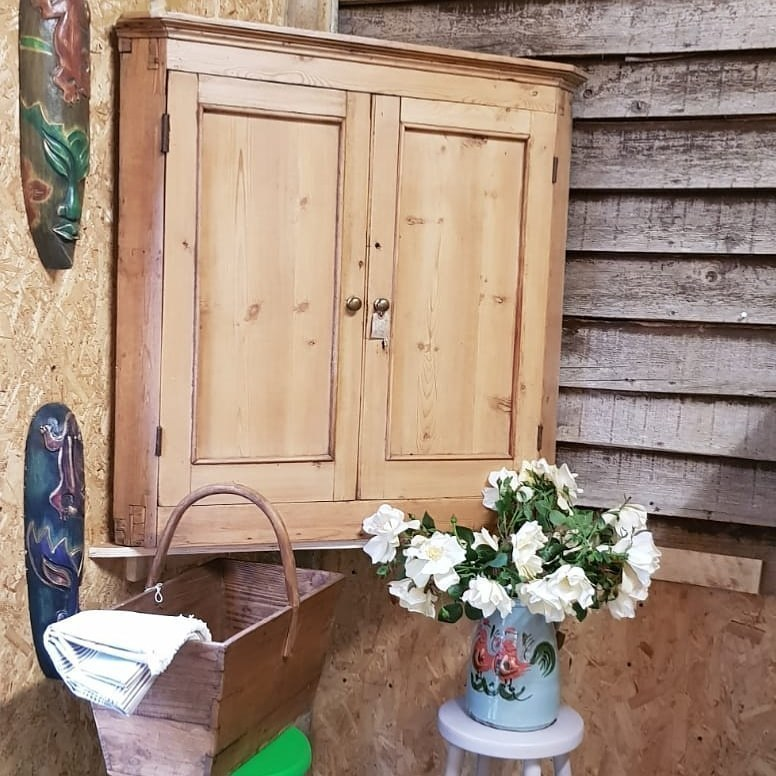Antique Pine Corner Cupboard Victorian