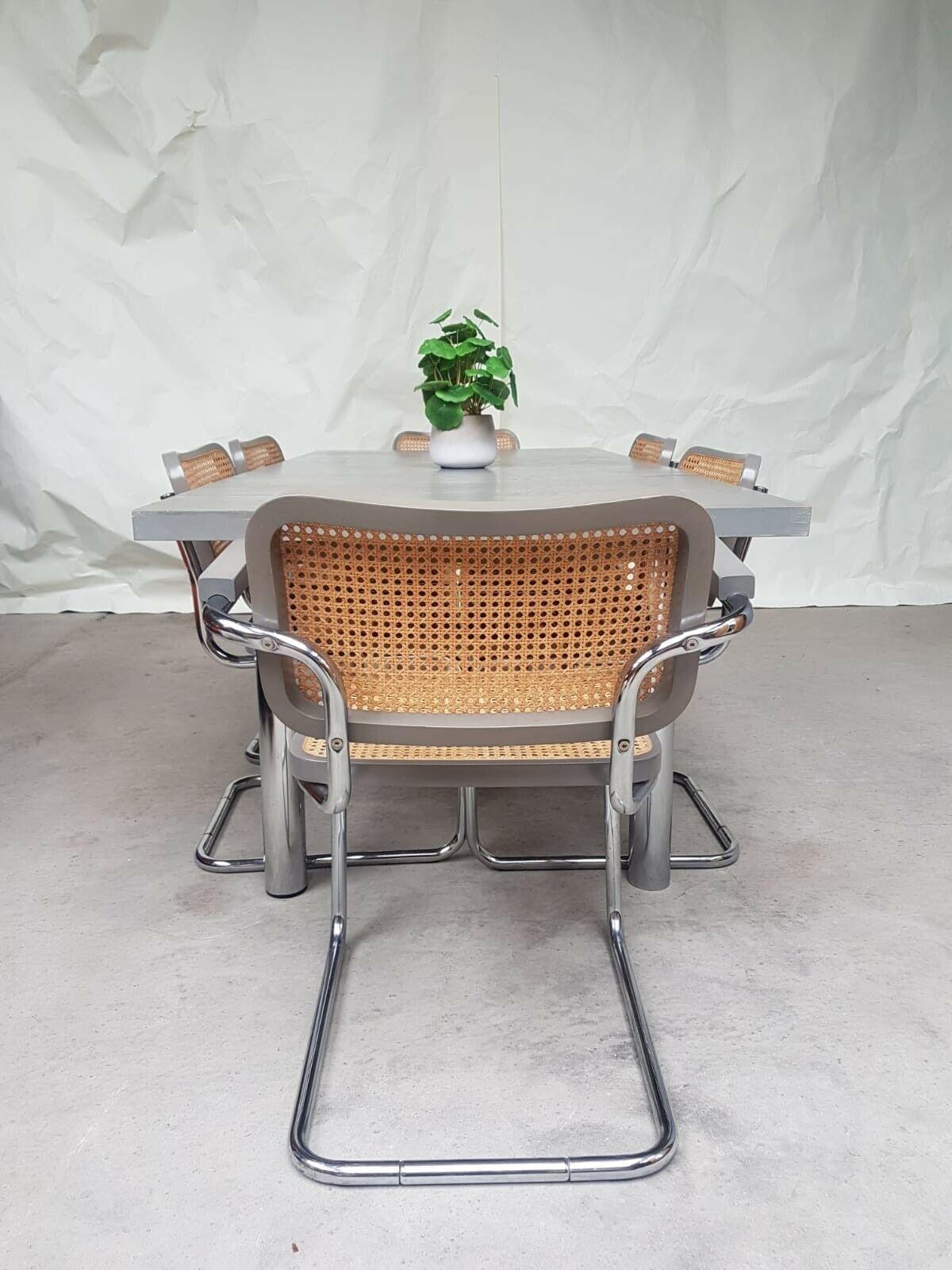 Vtg Late Mid Century Marcel Breuer Habitat Bauhaus Cesca Dining Table 6 Chairs