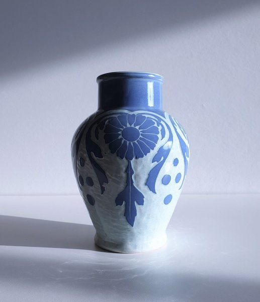 Josef Ekberg, 'Sgraffito' For Gustavsberg, 1909 Swedish Art Nouveau Floral Blue Ceramic Vase
