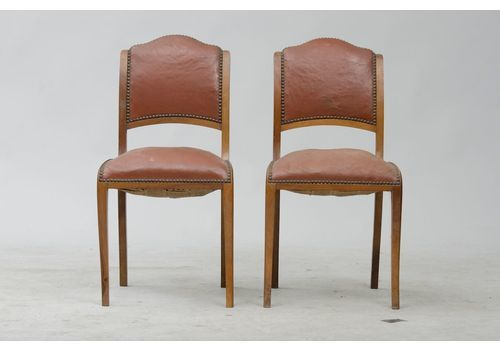Vintage Art Deco Walnut Dining Chairs, Set Of 6