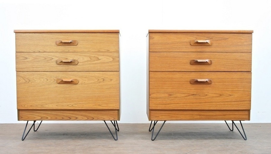 Pair Of Vintage 1970's Teak Danish Influence Chest Of Drawers & Hairpin Legs