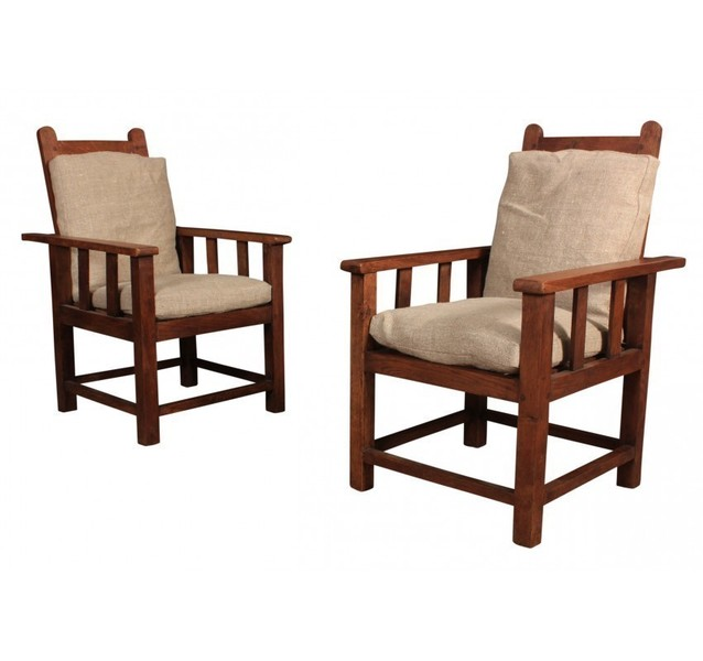Vintage Pair Of Solid Oak Reclining Childrens Armchairs