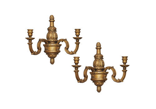 Pair Of 17th Century Style Carved Wood Gilt Wall Lights Circa 1880
