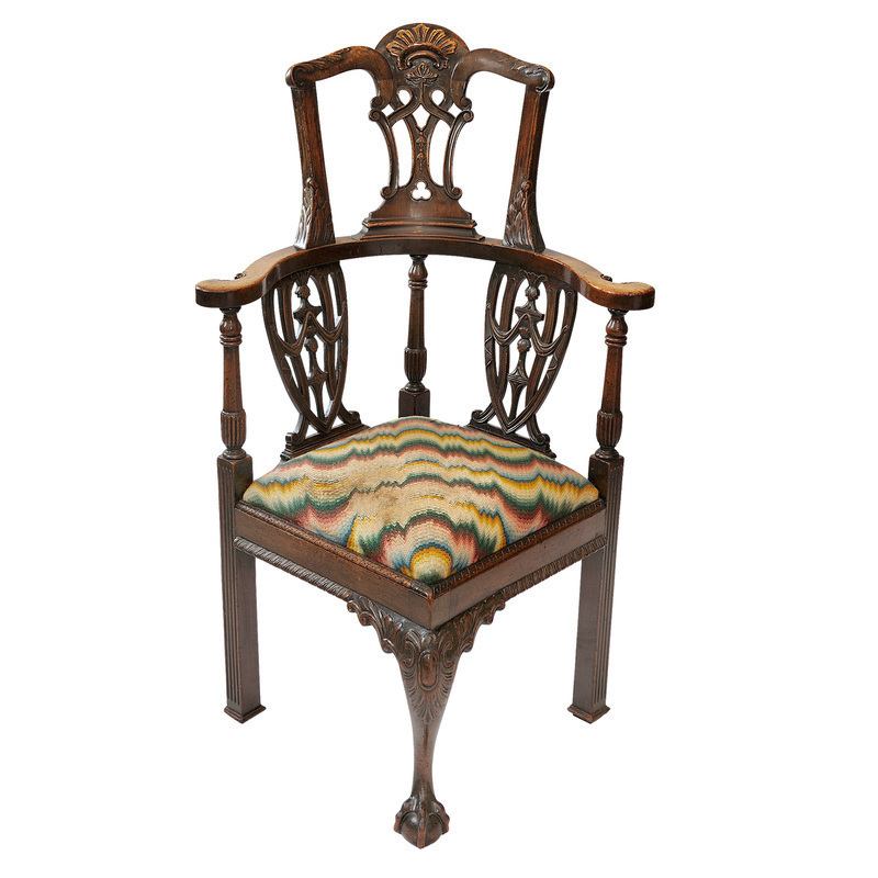 English 19 Th C Georgian Chippendale Style Desk Corner Chair Circa 1880