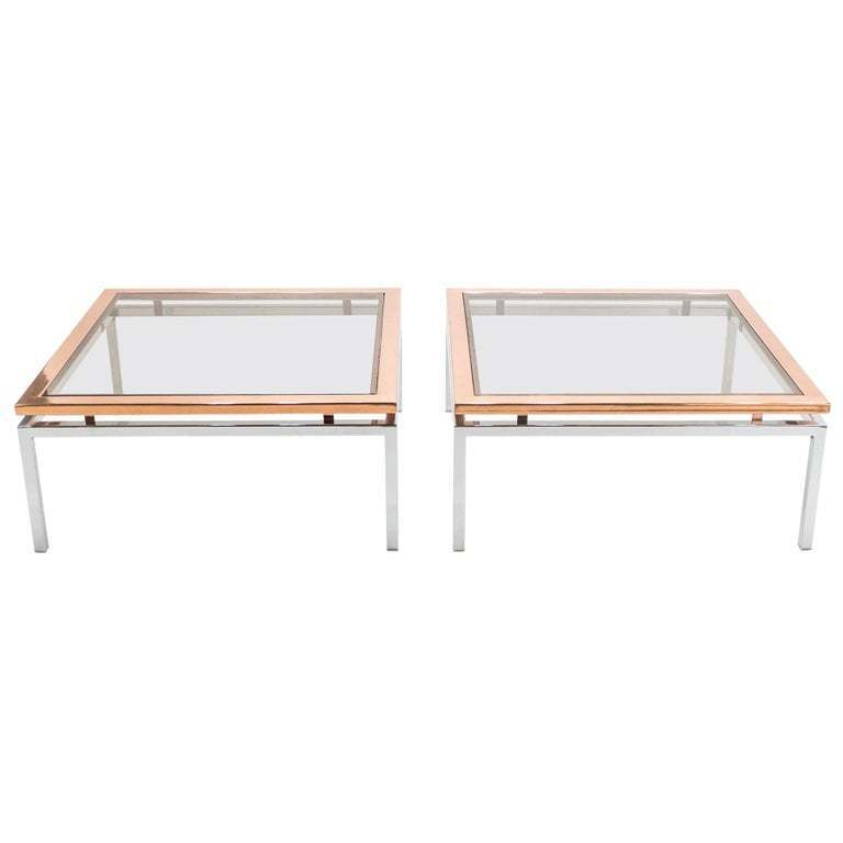 Pair Of Square Chrome Copper Coffee Tables Guy Lefevre For Maison Jansen 1970s