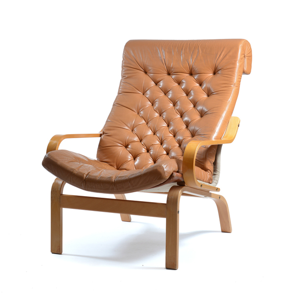 Noboru Nakamura Bore Armchairs For Ikea In Leather And Linen, 1970s