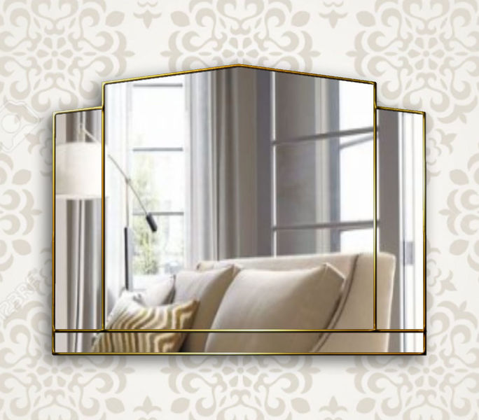 Essence Art Deco Over Mantle Wall Mirror In Gold